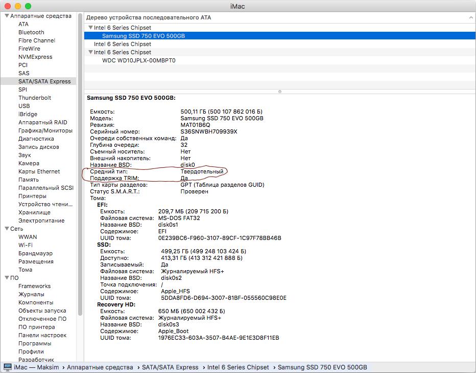 Трим Samsung SSD 750 EVO